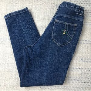 Vintage High Waist Embroidered Jeans Cropped 2